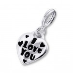 C20169 - Sterling Silver I Love You Heart Dangle Charm