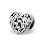 B44-C11113 - 925 Sterling Silver European Bead, Filligree Heart with Keyhole