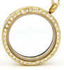 FL10 - Gold Plated High Quality Stainless Steel Round Floating Locket necklace with Chain