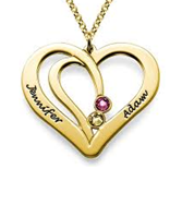 N457 - Gold Plated Couples Personalized Names & Birthstones Necklace