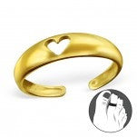 C101-C11714 - Gold Plated over Sterling Silver Heart Toe Ring, Adjustable