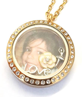 FLS13 - Personalized Custom Jewelry Photo locket Necklace with any 3 charms