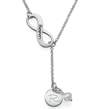 N801 - Sterling Silver Infinity Personalized Necklace with Birthstone of choice