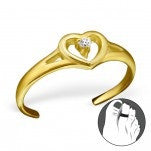 C103-C21165 - Gold Plated over Sterling Silver Heart Toe Ring