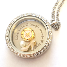 FLS15 - Friend Gift Locket Necklace, Live well, Love much, Laugh Often with any 3 floating charms of choice