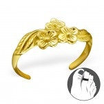 C104-C21141 - Gold Plated over Sterling Silver Flower Toe Ring, Adjustable
