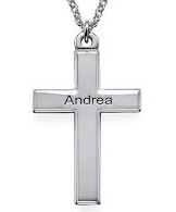 N79 - Sterling Silver Personalized Cross Name Necklace