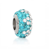 C85-Q00737 - Sparkle Blue & Clear Rhinestone, Stainless Steel European Bead