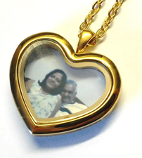 FLS14 - Gold Plated Personalized Photo Heart Locket Necklace, with any photo