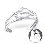 C97-C21059 - 925 Sterling Silver Baby Feet Toe Ring, Adjustable Size