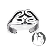 C180-C29407 925 Sterling Silver Double Heart Adjustable Toe Ring
