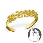 C102-C21135 - Gold Plated Flower Design Toe Ring, Adjustable Size