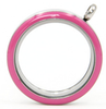 FLEP - Pink Round Stainless Steel Floating Locket Necklace with chain, twist open