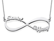 N453 - Sterling Silver Personalized Names Infinity Necklace