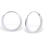C21962 - 925 Sterling Silver White Round Hoop Earings 12mm