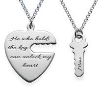 N19 - Sterling Silver Personalized Wording Couples Key to my heart Necklace