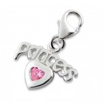 C4-C12401 -925 Sterling Silver Princess & Heart Charm Dangle for Charm Bracelet