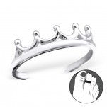 C90-20979 - 925 Sterling Silver Crown Toe Ring, Adjustable Size