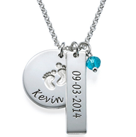 N251 - Sterling Silver Baby Name, Birth Date & Birthstone Necklace