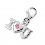 C5-C12402 - 925 Sterling Silver I Love You CZ Charm Dangle for Charm Bracelet