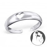 C91-C20687 - 925 Sterling Silver Heart Toe Ring, Adjustable Size