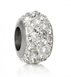 B19-CQ00074 - Stainless Steel White Sparkle European Charm Bead