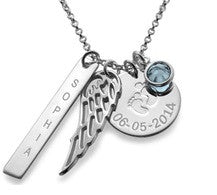 N7 - Sterling Silver Baby Feet Personalized Necklace with Birthstone