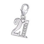 C229-C29309 - 925 Sterling Silver 21st Charm with cz stones