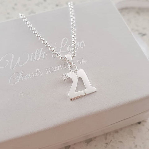 C3203 - 925 Sterling Silver 21st Birthday 21 Necklace
