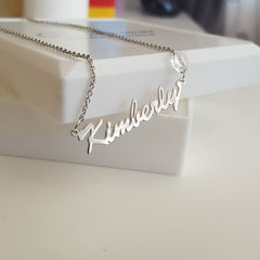 NN1 - Sterling Silver Name Necklace with Swarovski Birthstone, Rolo Chain (Ready in 8 working days!)