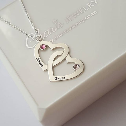 N97 - 925 Sterling Silver Couples Names & Birthstones Personalized Necklace