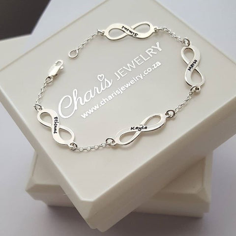 N417 - 925 Sterling Silver Personalized Multiple Infinity Bracelet
