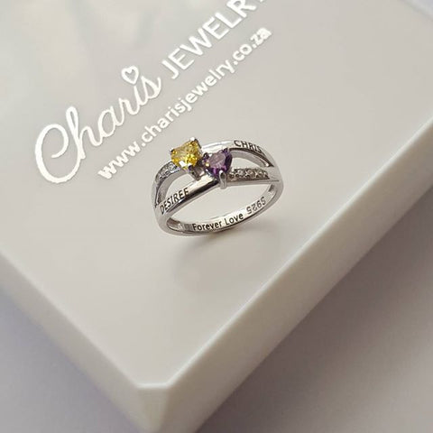 N275-CRI102000 - 925 Sterling Silver Personalized Couples / Promise Ring