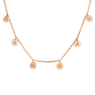 N565 - 18K Rose Gold Plated Initials Choker Necklace over Sterling Silver