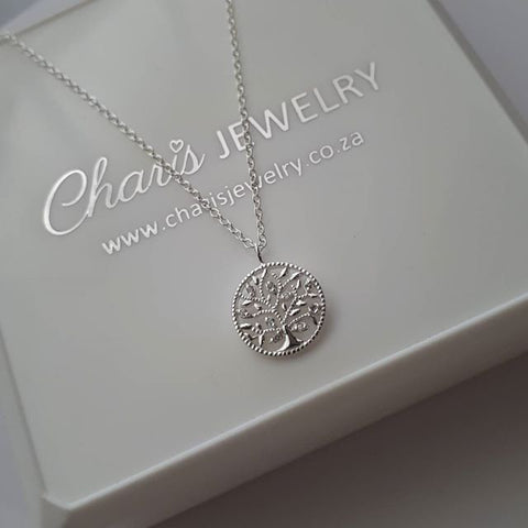 C503-C34529 - Sterling silver CZ Stone Tree of Life Necklace