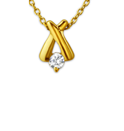 C23711 - Gold Plated L Cross Necklace