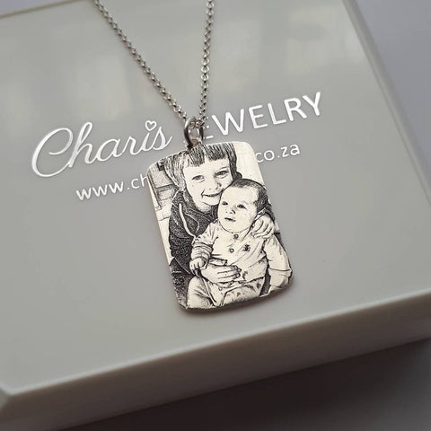 N794 - 925 Sterling Silver Personalized Photo Picture Dog Tag Necklace