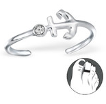 C182-C24647 - 925 Sterling Silver Anchor with Stone Toe Ring