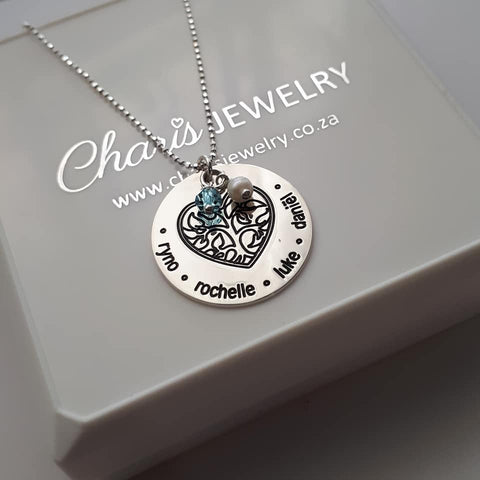 N125 - 925 Sterling Silver Personalized Family Names Necklace with Birthstone