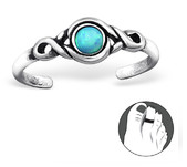 C127-27716 - Sterling Silver Toe Ring with an Azure Opal Stone