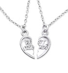 C175-28065 925 Sterling Silver Best Friend Necklace Set