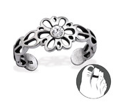 C135-C29413 - Sterling Silver Flower with stone Toe Ring