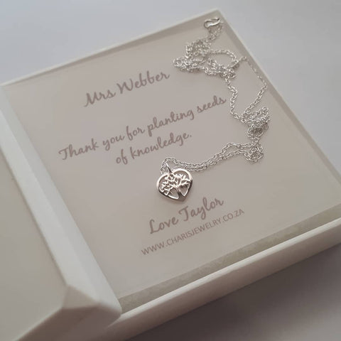 C361-C23025 - 925 Sterling Silver Tree Necklace & Personalized Note
