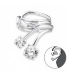 E1-C22167 - 925 Sterling Silver Double Stone Ear Cuff Earings
