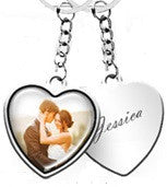 JB-EJ21 - Stainless Steel Personalized Photo & Engraved Message Heart Keyring