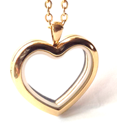 Buy gold heart floating locket necklace online store in South Africa