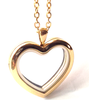 FL8 - Gold Plated High Quality Stainless Steel Heart Floating Locket with Chain