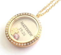 FL20 - Personalized Silver or Gold Stainless Steel Locket with any 2 floating pieces
