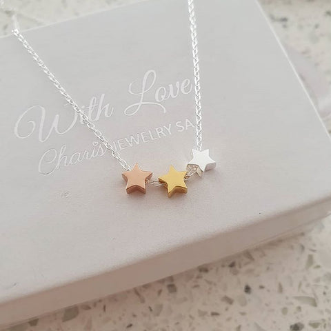 C1292-C20100 - 925 Sterling Silver Triple Star Necklace