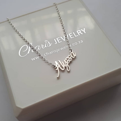 N295 - 925 Sterling Silver Personalized Tiny Name Necklace in Extra Strength Sterling Silver